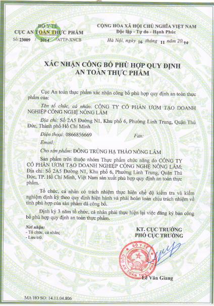 Bộ Y Tế cấp phép và đã kiểm nghiệm đông trùng hạ thảo Nông Lâm